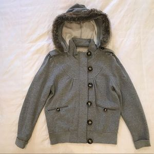 Grey L zip-up hooded sweater jacket with buttons